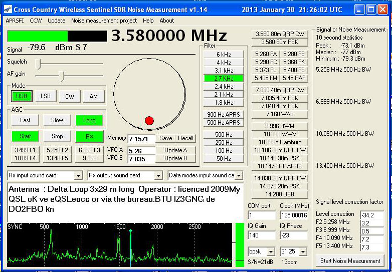 CCW Sentinel HF SDR noise measurement program screenshot